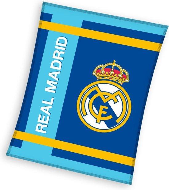 Real Madrid Fleecedeken 130 X 160 Cm Blauw/blauw