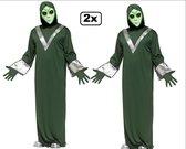 2x Alien kostuum met masker one size