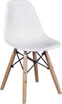 Kinderstoel Kunststof  Houten onderstel - Wit