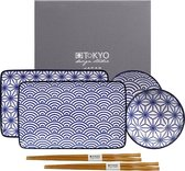 Tokyo Design Studio Nippon Blue Sushi Servies - Porselein - 6 delig - 2 persoons