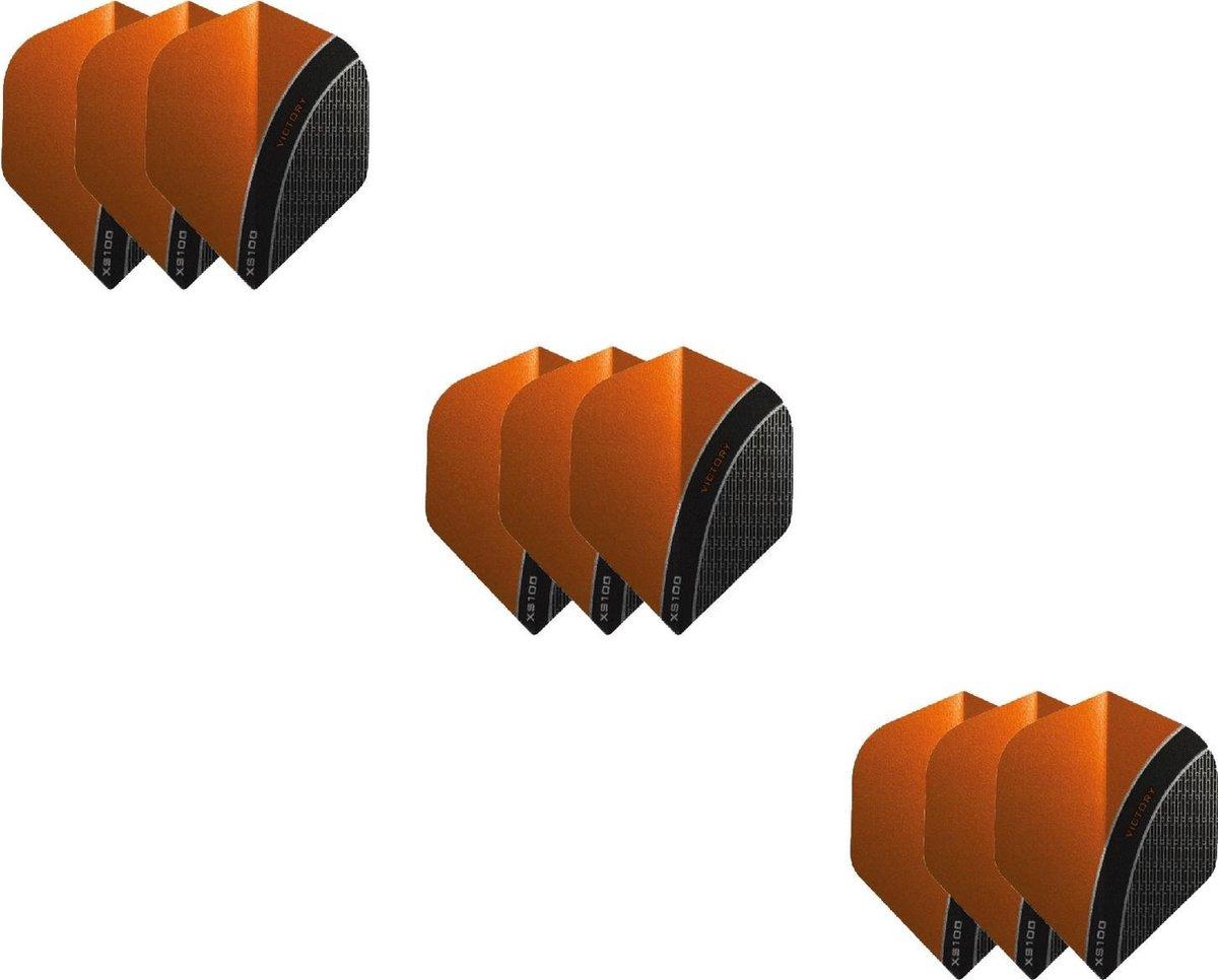 3 Sets (9 stuks) XS100 Curve flights Multipack - Oranje