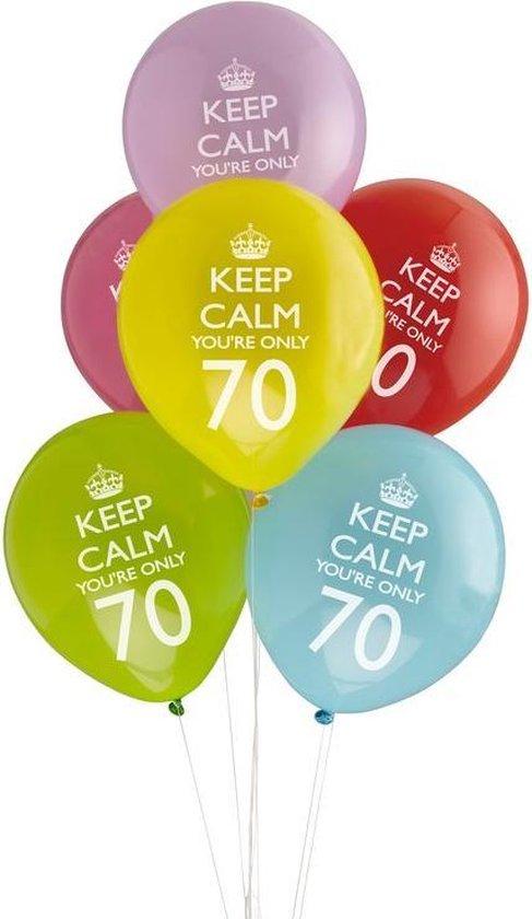 Neviti Keep Calm Party - 70th verjaardag ballon assorti - Set-8