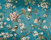 S.old - Schilderen Op Nummer Volwassenen - Vogels & Bloemen - Met Frame - 40x50 cm