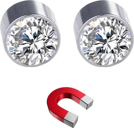 Fako Bijoux® - Oorbellen - Magneet - RVS - 6mm - Kristal - Wit