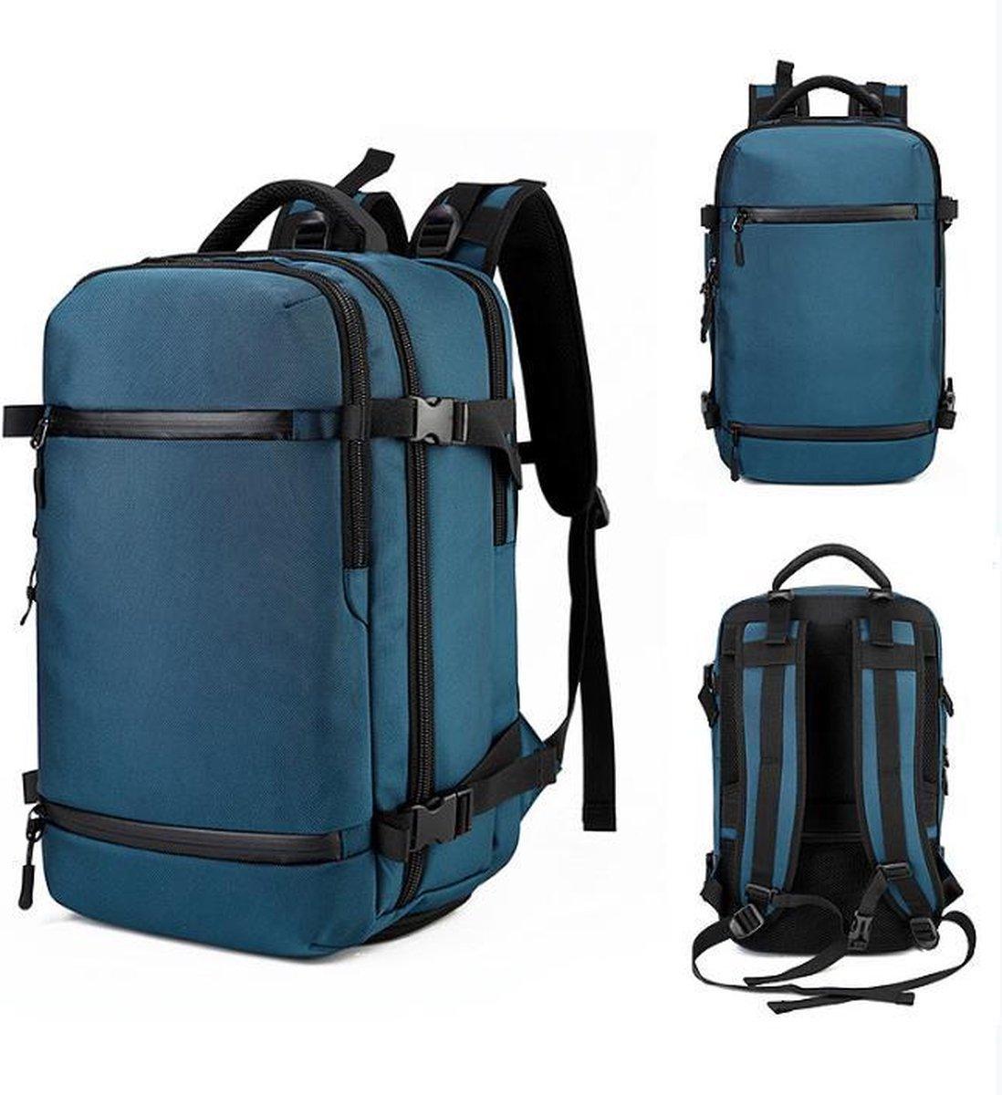 Backpack cabin size blauw petrol  with usb port - Rugzak vliegtuig 51 x 33 x 21 cm - Multifunctionee