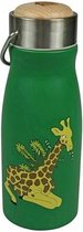 THE ZOO - flask, thermosfles, roestvrij staal, dop bevat plastic / FSC-hout, giraffe, mat, 300 ml