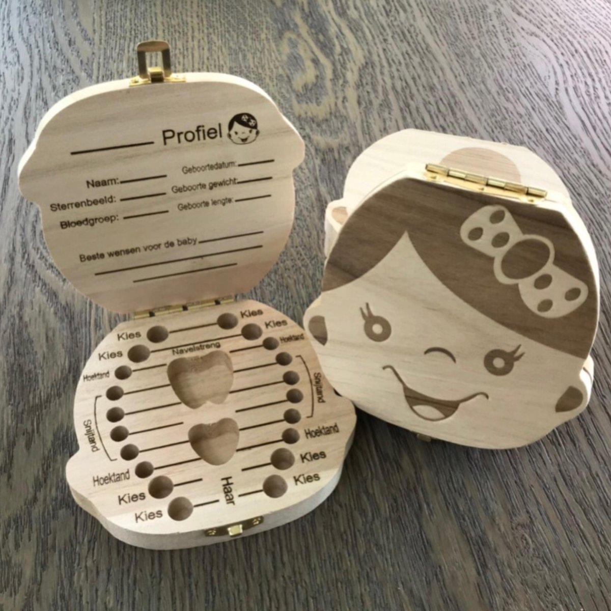 Houten Tandendoosje - Nederlandse versie - Duurzaam en Compact - Meisje - Voor melktanden - Nederlan