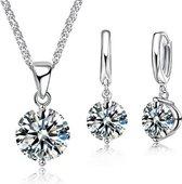 Victorious Set Dames Ketting en Oorbellen – Bergkristal – Zilver – 45cm