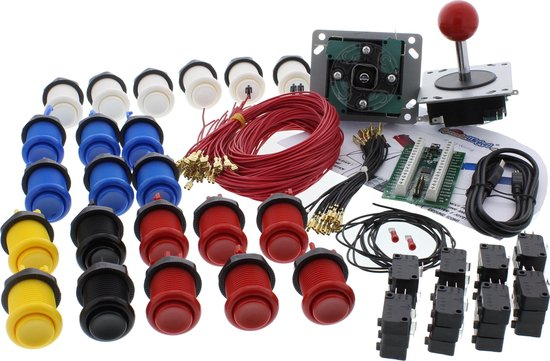 ArcadeWinkel Arcade top kwaliteit starterspakket 2 spelers (drukknoppen, joysticks, ipac2 interface, kabelset) met Zippy 20gr Microswitches