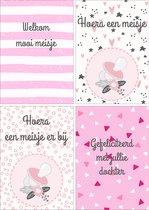 Geboortekaartjes - Set van 12 x Geboortekaart - Dochter / Meisje