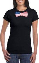 Zwart t-shirt met Amerika vlag strikje dames S