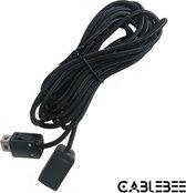 Cablebee verlengkabel voor Nintendo mini classic NES/SNES controller nylon zwart 1.8 meter
