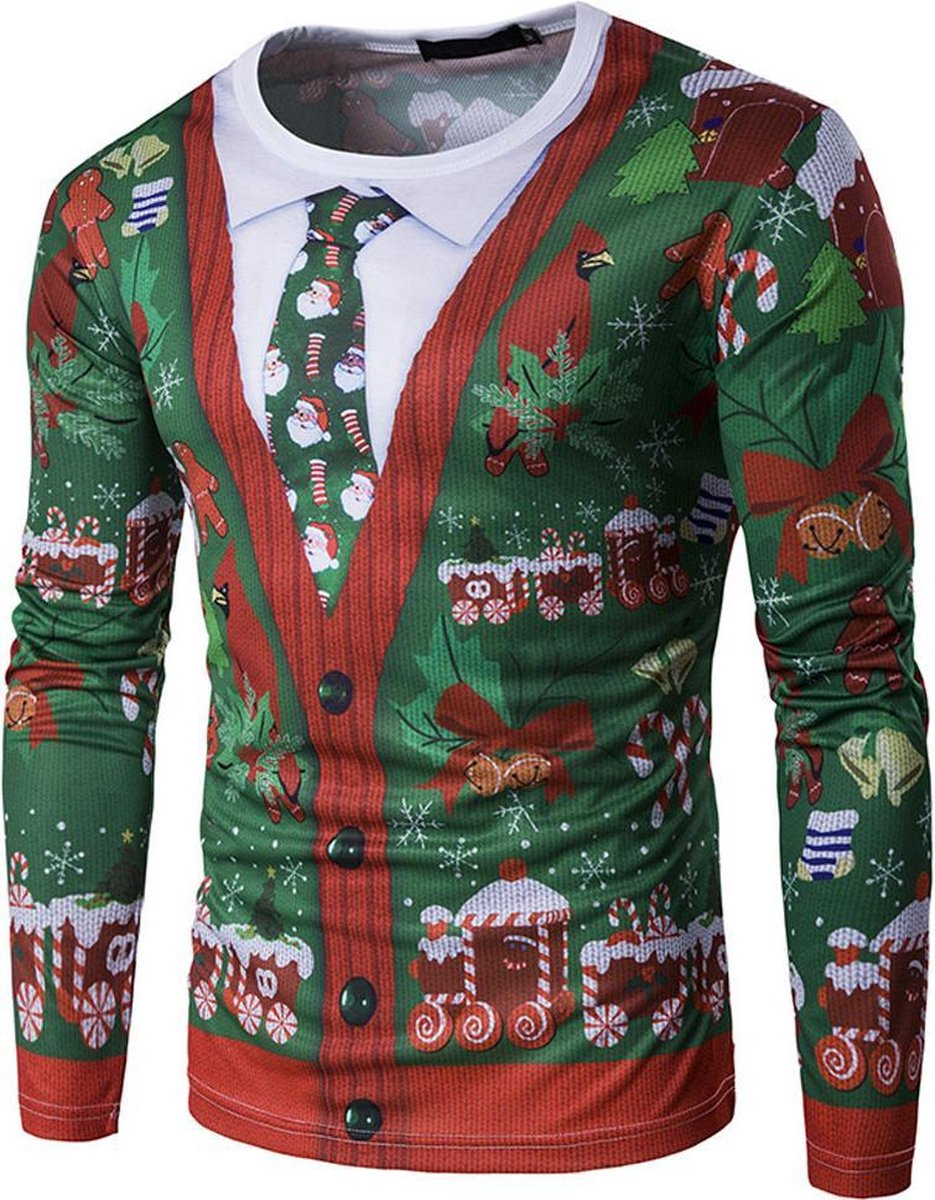 Foute 'kersttrui' - Shirt met 3D print van een vest en kerststropdas - maat L/XL - Kerst verkleedkleding heren - Generik
