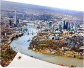 Luchtfoto van Londen Tuinposter 200x100 cm - Tuindoek / Buitencanvas / Schilderijen voor buiten (tuin decoratie) XXL / Groot formaat!