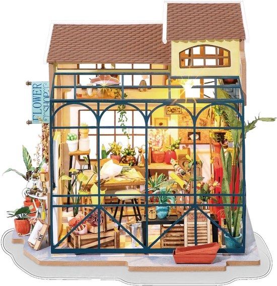 Afbeelding van Robotime DIY modelbouw pakket Emilys bloemenwinkel met verlichting (DG145) 172 x 195 184 mm speelgoed