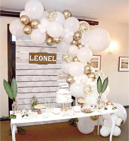 Ballonnenboog voor Bruiloft met 120 ballonnen met pomp en ophanghaakjes- DIY - Wit - Goud - Verjaardag Versiering - Feest - 5 Meter - Babyshower - Decoratie - Ballonboog - Wedding Arch