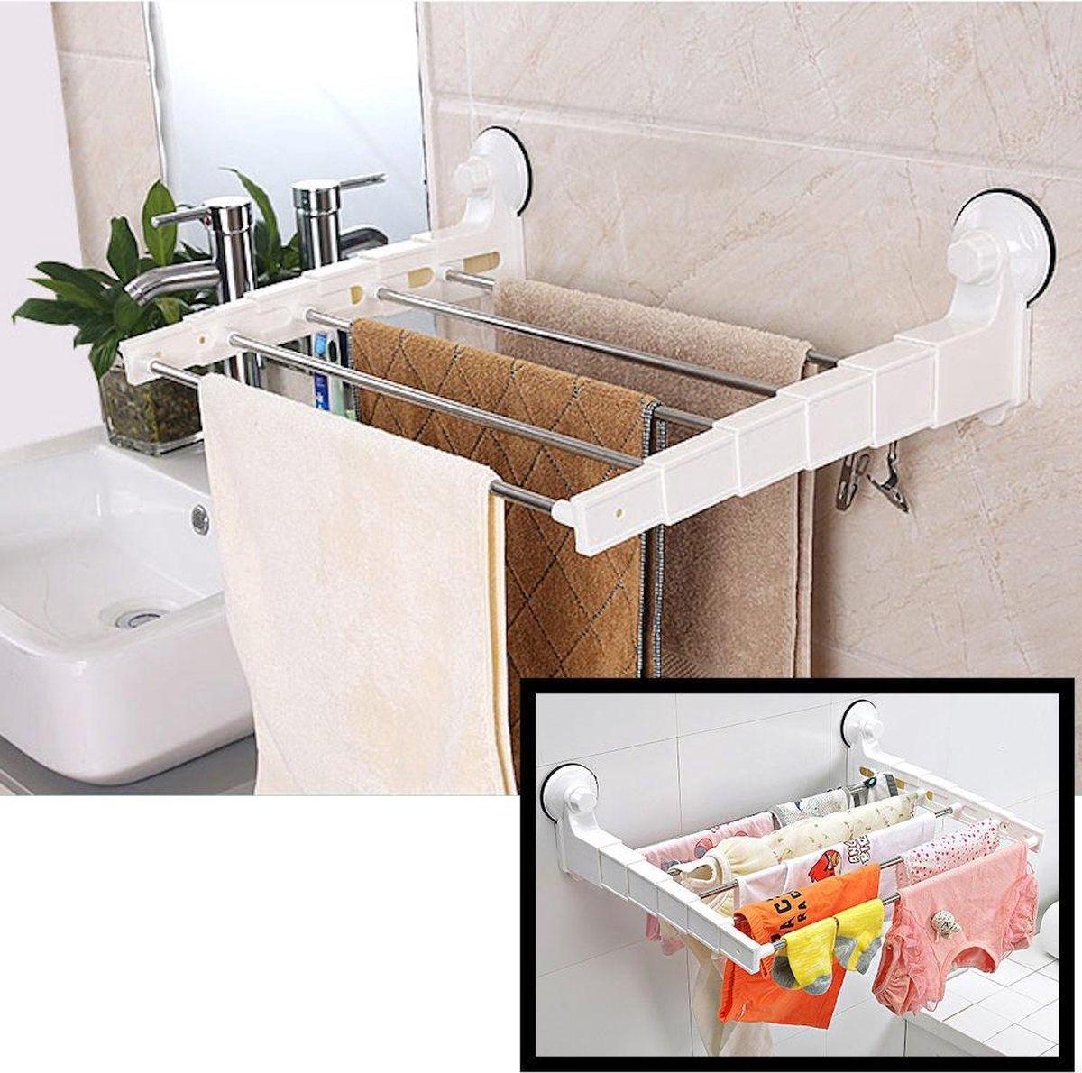 Decopatent® Uitschuifbaar Handdoekenrek - Droogrek - Wasrek - 5 stangen - Zonder boren - Handdoekhouder - Badkamer - Handdoekenrek