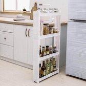 Decopatent® Smal Keukenrek opbergrek 4 laags op Wieltjes met Vakken - Smalle kast - Keukentrolley met wielen - Badkamer - Nisrek