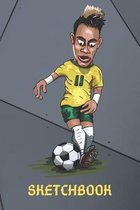 Neymar Football Sketchbook: Football Sketchpad With Border 6 x 9 in, 120 pages for drawing - for soccer sport lovers (kids, boys, children)