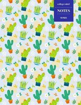 College Ruled Notes 110 Pages: Cactus Floral Notebook for Professionals and Students, Teachers and Writers - Bright Green Cactus Pattern