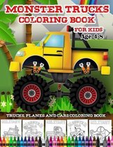 Trucks Planes And Cars Coloring Book-Monster Trucks Coloring Book For Kids Age 4-8
