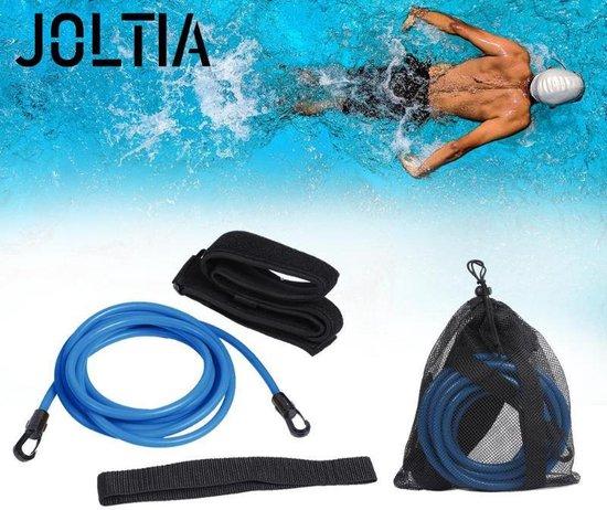 JOLTIA - Zwemelastiek 500 - Zwemtraining - Zwem elastiek met weerstand - Resistance cords - Voor Volwassenen - Zwembad - Zwemelastieken met Riem / Gordel - Weerstandsband - Weerstandstube - Trainingsbanden - 3 meter - Blauw