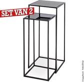 Zwart stalen Zuiltafel set|Gehard veiligheidsglas bovenplaat| Set van 2 zuilen| Plantentafel-sokkel