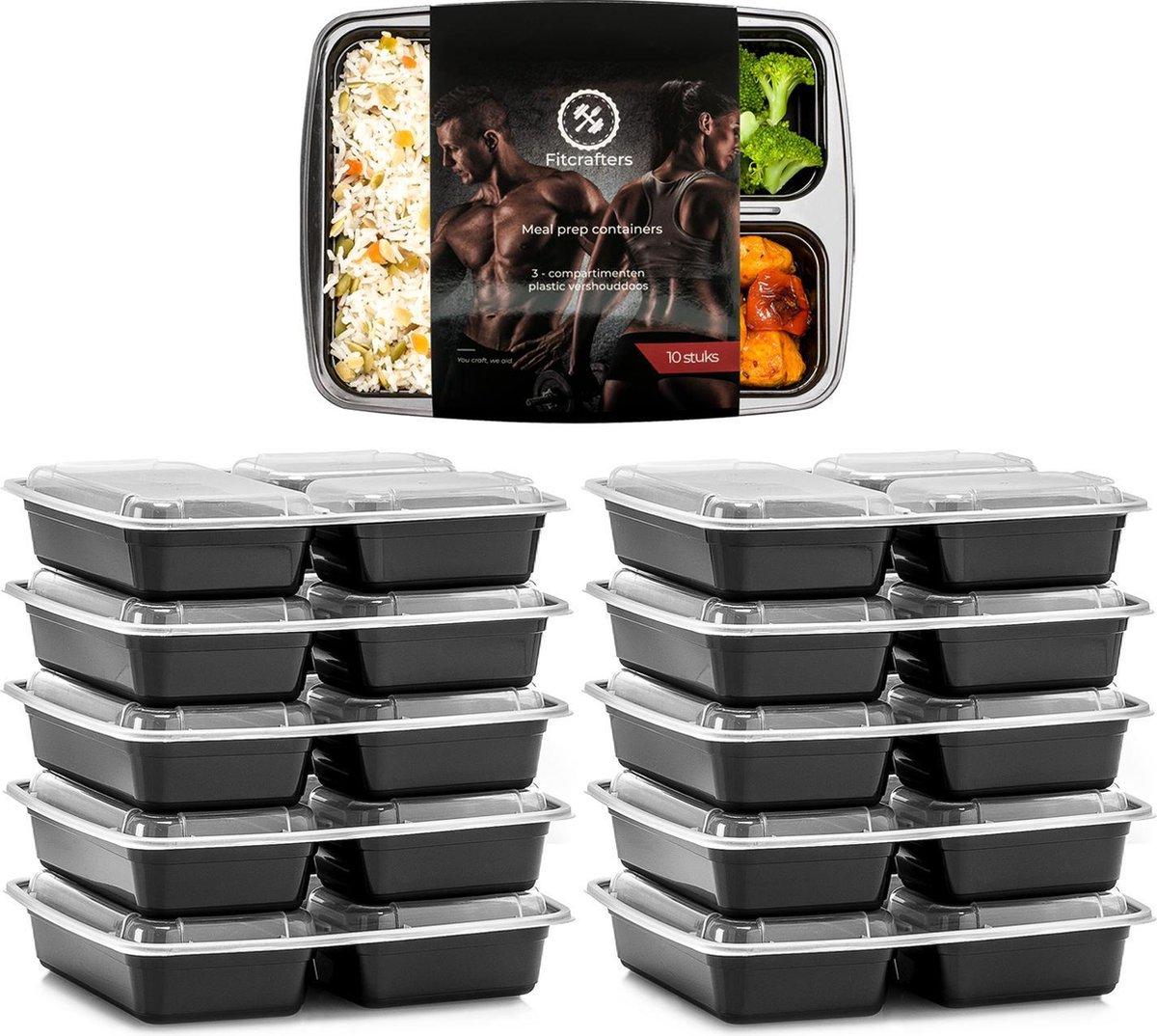 Meal Prep Bakjes - 10 stuks - 3 compartimenten - Lunchbox - Diepvriesbakjes - Vershoudbakjes - Plast