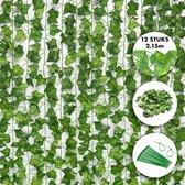 Fissaly® 12 Stuks Hedera Helix Klimop Slinger Versiering Set – Backdrop Planten Decoratie voor Woonkamer & Feest – Kunstplant, Hangplant & Nepplant