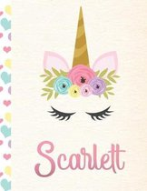 Scarlett: Personalized Unicorn Primary Handwriting Notebook For Girls With Pink Name - Dotted Midline Handwriting Practice Paper