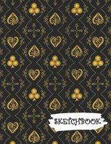 Sketchbook: Black Gold Deck Of Playing Cards Fun Framed Drawing Paper Notebook