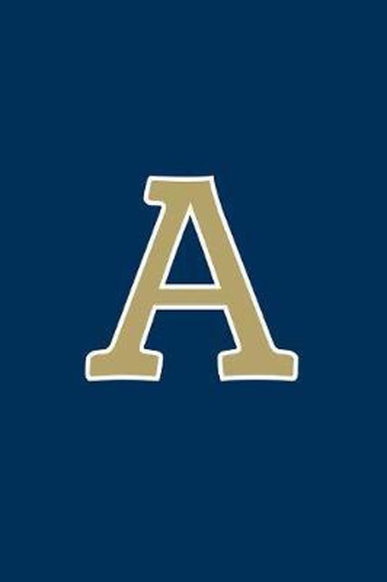 A: Monogram Journal, Notebook or Diary. Navy Blue with Gold Alphabet Initial Letter - 6'' x 9'' 110 College Ruled Blank Lin