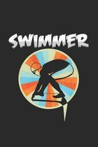 Swimmer: 6x9 Swimmingl - grid - squared paper - notebook - notes