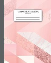 Composition Notebook Wide Ruled: 7.5x9.25 Marble and Pink College Ruled 100 for Teens Kids Students Girls for Home School College for Writing Notes