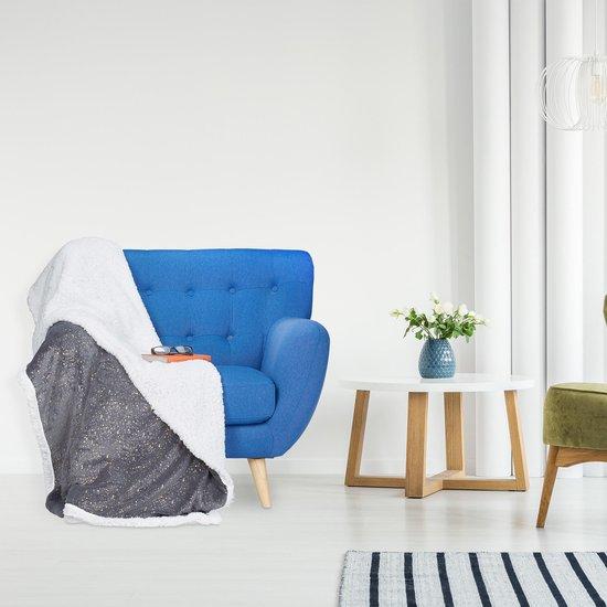 Bol Com Relaxdays 1 X Plaid 150x200 Deken Woonkamer Woondeken Op Bank Grijs Punten