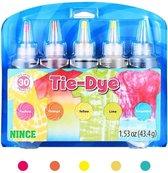 Nince Tie-Dye kit van hoge kwaliteit Kit 2 - Complete kit van 5 kleuren textiel - Tie Dye set - Tie Dye verf premium kwaliteit