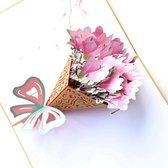 pop up bloemenkaart met boeket Magnolia Felicitatie Moederdag Bedankt Verjaardag wenskaart