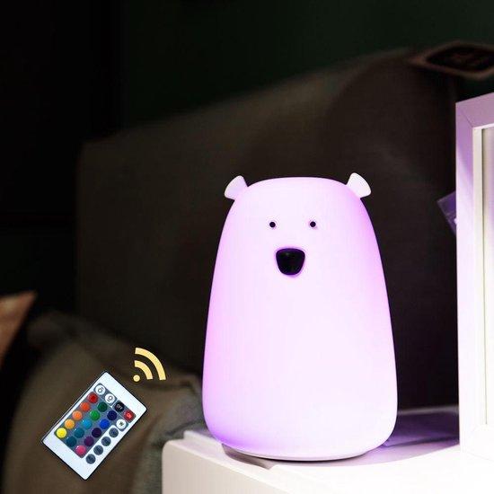 Kadoing® Beer Nachtlampje - Met Afstandsbediening & TAP-ON Functie - 15 Verschillende Kleuren Licht - Verstelbare Helderheid - Kinderlampje - Bedlampje Voor Kinderen - Bear Night Light