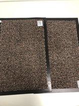 2 stuks - deurmatten - bruin - 40x60cm