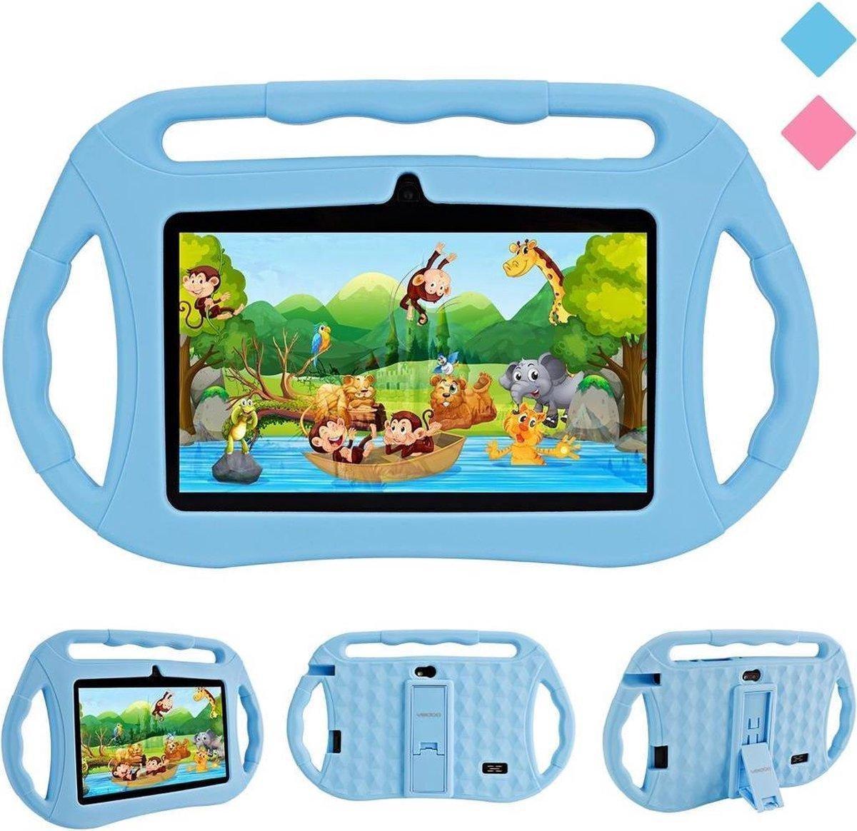Kindertablet - tablet 7 inch - 16 GB - vanaf 2 jaar - leerzame tablet voor kinderen - Bluetooth - Wifi - spellen - camera - Blauw