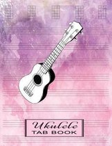 Ukulele Tab Book: Tablature Paper Gift for Ukulele Players, Beginners or Advanced - Songwriting Manuscript Notebook - Watercolor Pinkish