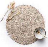 Placemat Tafelkleed Onderlegger Rond - Decoratieve Placemats - Nordic Style - Katoen - Beige - 38 CM