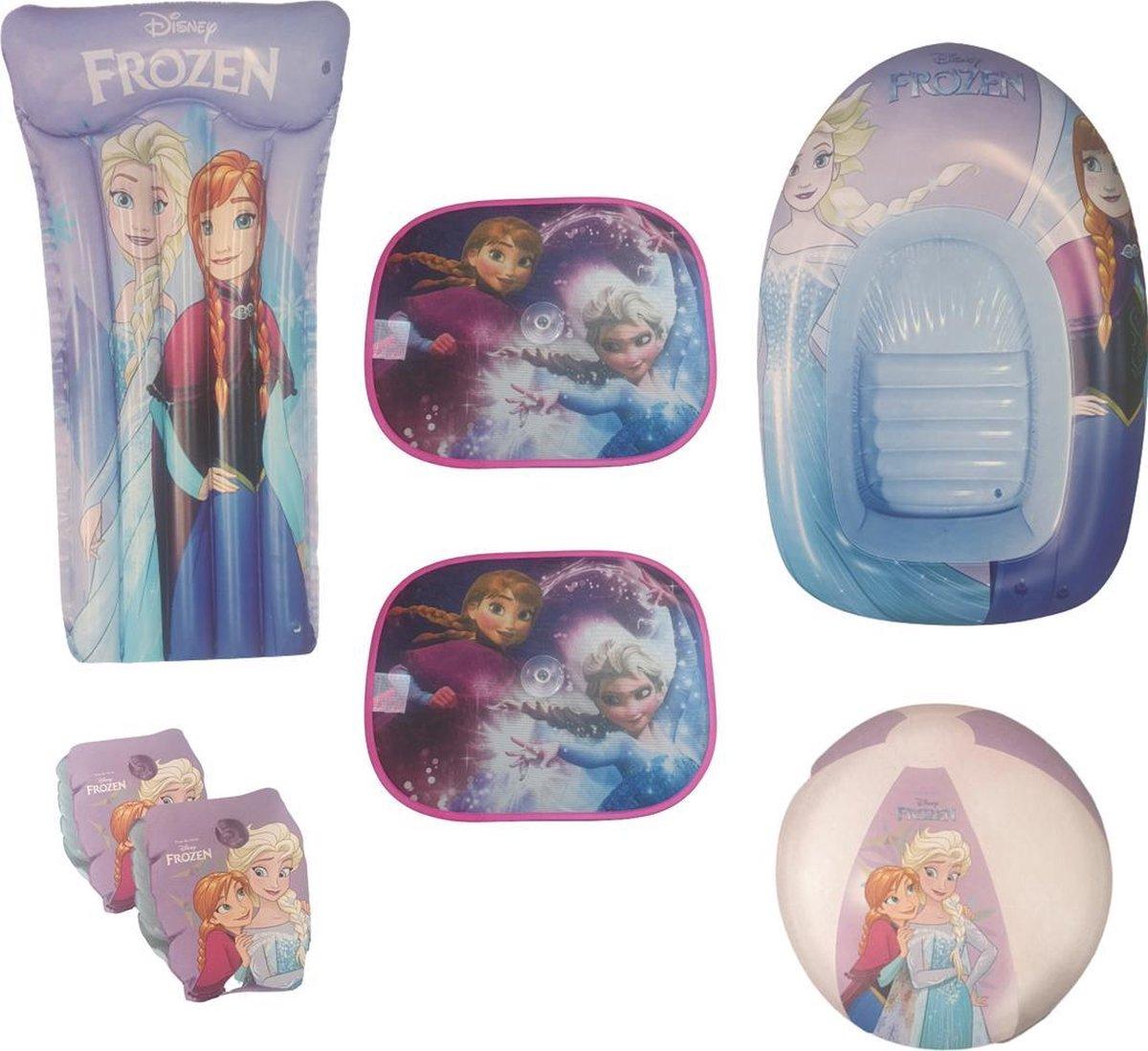 Frozen Zomerpakket | Funpakket | Zomerspeelgoed | Luchtmatras 119 x 61CM! | Zwembandjes | Strandbal | Opblaasboot 102 x 69CM! |2x Zonnescherm | 5-in-1 | Waterpret | Meisjes | Girls