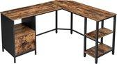 MIRA Home Hoekbureau - L-vormige werktafel - Multifunctioneel - Industrieel - Vintage - 137x150x75 - Bruin