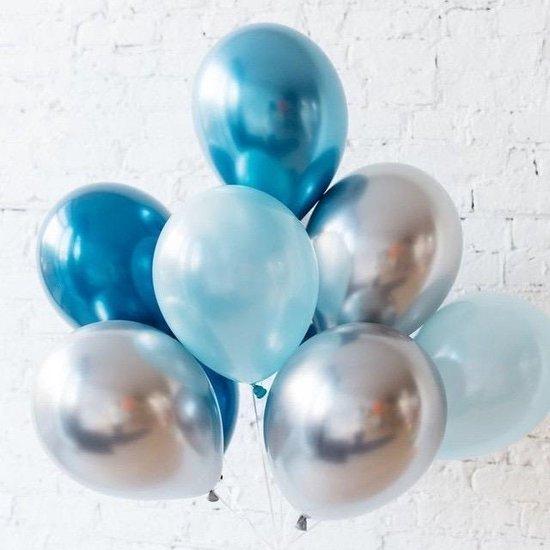 Geboorte ballonnen set Jongen - DH collection | Zilver & 2 kleuren Blauw | Baby - Boy | Babyshower - Kraamfeest - Kraamborrel - Decoratie - Feest - Kraamtijd - Kraamborrel - Versiering | Zoon - Broertje
