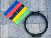 Pilates ring Ø 38cm - bekkenbodem ring zwart - Fitness ring- Yoga ring- Meditatie ring- 5 multi set weerstand banden-  fitness elastiek- power bands set