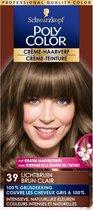 Schwarzkopf Poly Color Crème Haarverf 39 Lichtbruin - 1 stuk - intensieve, natuurlijke kleuren met 100% grijsdekking