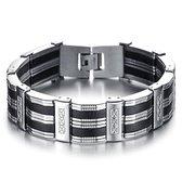 Victorious Armband Heren – Zwarte Strepen & RVS Roestvrij Staal– Zilver/Zwart – 20cm