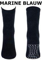 Anti slip sokken volwassenen - marineblauw - Unisex Maat 39-42