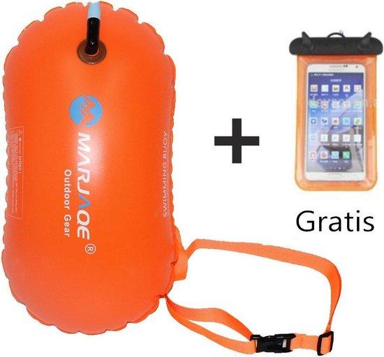 Zwemboei voor Veilig Openwater en Triatlon Zwemmen zonder drybag - /Saferswimmer/Safe swimmer/ 20 Liter + Waterdichte smartphone hoes/Zwemboei/waterdichte smartphone hoes/